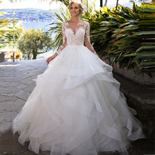 Vestido de baile Vintage vestidos de boda princesa 2020 manga larga espalda abierta apliques encaje tul falda escalonada vestidos de boda