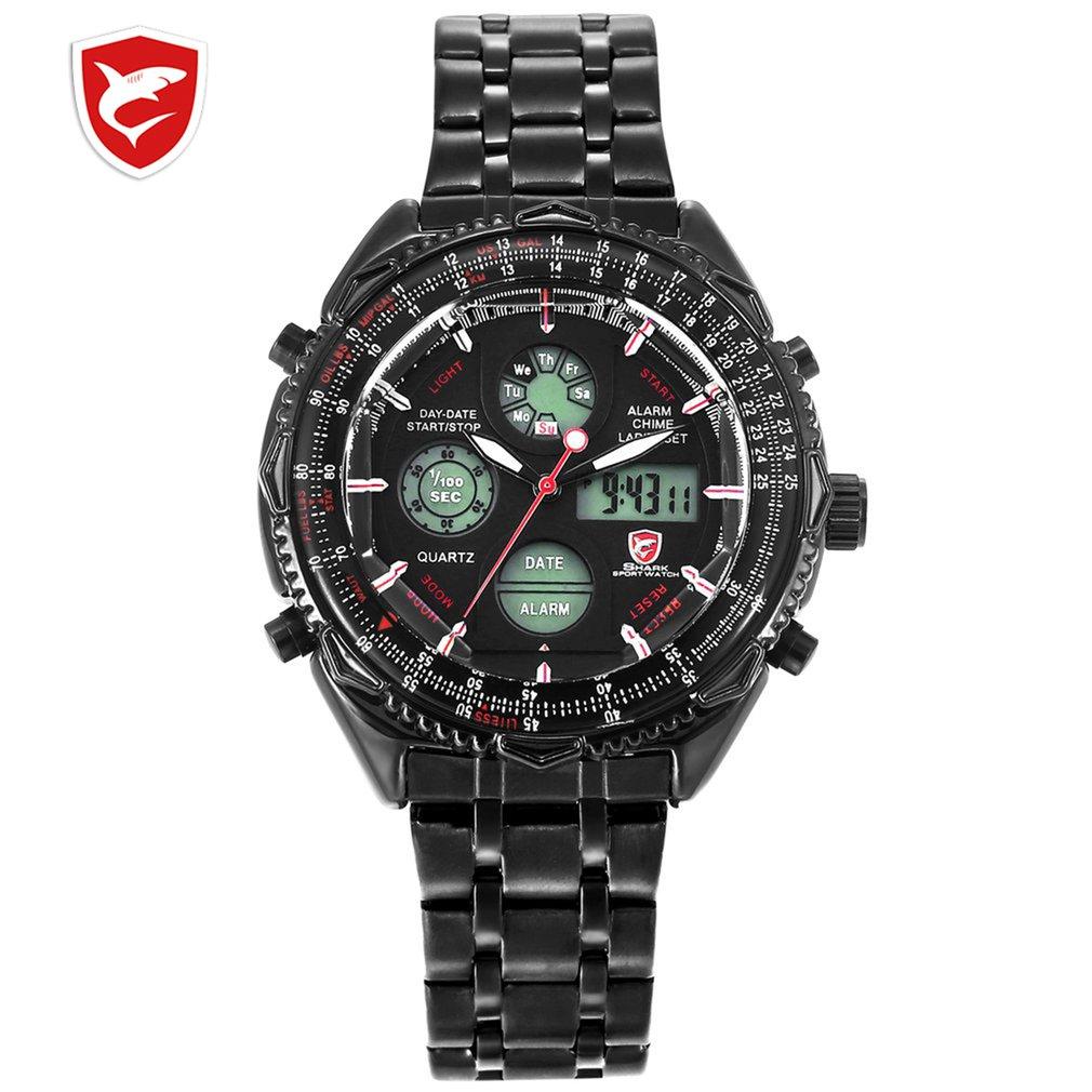 Reloj deportivo de tiburón de ocho puntas reloj de pulsera de cuarzo militar para hombre reloj de pulsera analógico Digital de doble hora reloj de pulsera de acero inoxidable para hombre