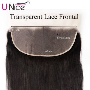 Image 4 - Unice Hair 13*6 Transparent Lace Frontal 8 18 Inch straight Human Hair Pre Plucked Brazilian Remy Hair Natural Color