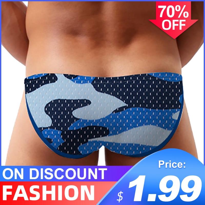 Camouflage Sexy Underwear Men Jockstrap Briefs Ice Silk Gay Men Bikini Underware Quick Dry Cueca Male Panties Lingeire Mesh New