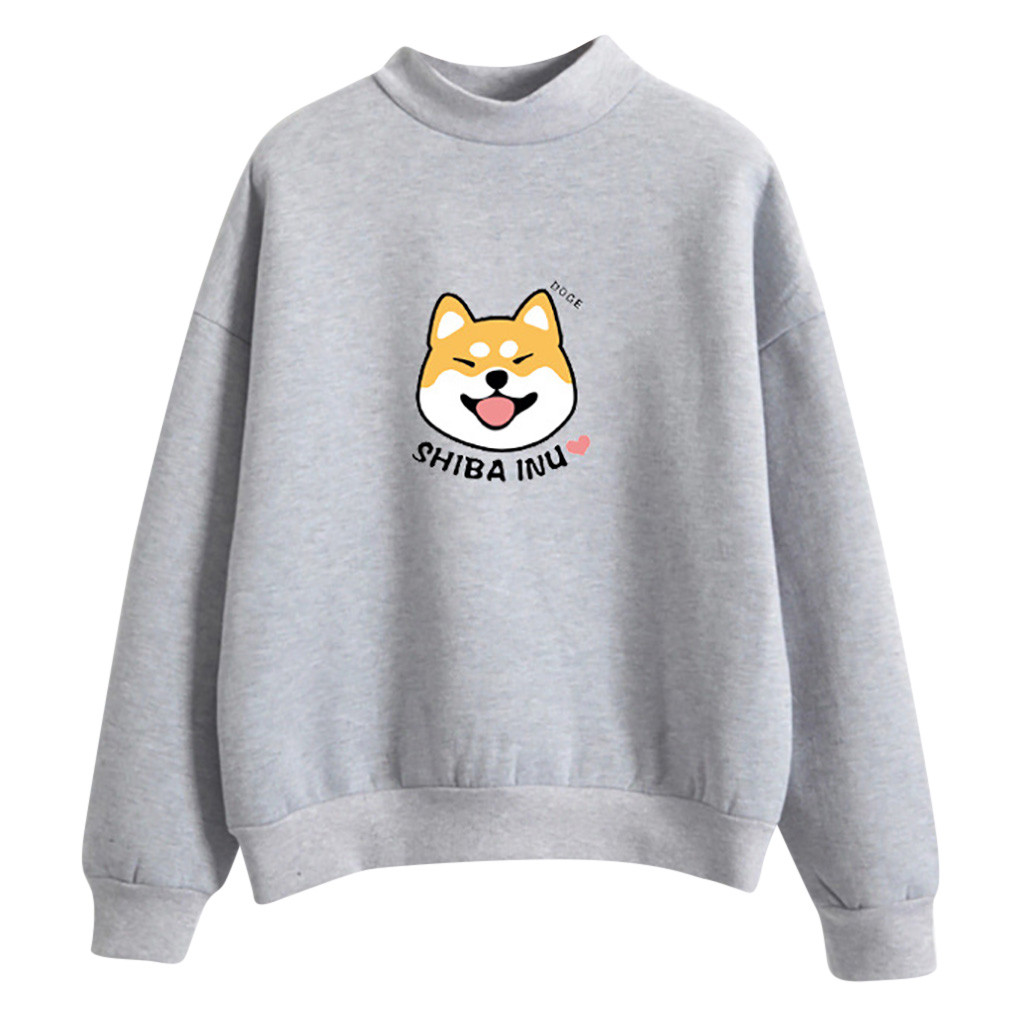 Cute Shiba Inu Female Cotton Hoodie Casual Long-Sleeved Pullover Outerwear
