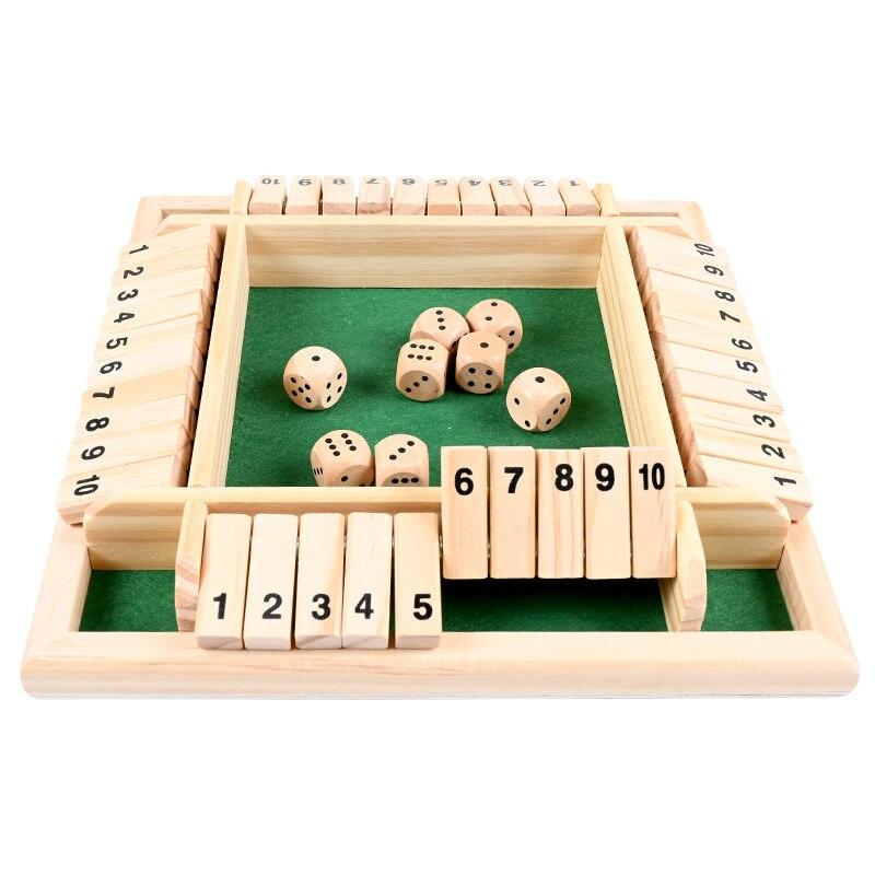 QWZ New wood Deluxe quattro lati 10 numeri chiudi la scatola gioco da tavolo Set dadi Party Club bere giochi per famiglie giocattoli