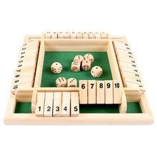 QWZ-Juego de mesa Deluxe de madera, cuatro lados, 10 números, cerrada, dados, fiesta, Club, juegos de beber para juguetes familiares