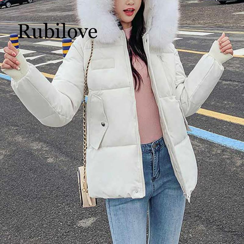 Женская зимняя Корейская белая парка с меховым воротником, парка с капюшоном, пальто размера плюс, женская теплая одежда, верхняя одежда, зи