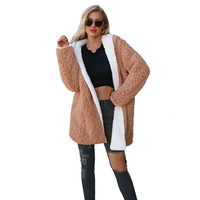Furry Winter Women Shaggy Coat Teddy Coat with Fur Trim Hood Thick Warm Fur New Casual Female Hoodie Two way Contrast Color Coat