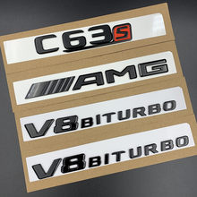 3D Black W204 W205 Car Stickers V8 C43 200 C250 300 350 C63 C180 Letters Auto Badge Logo Emblemas Do Carro Hood