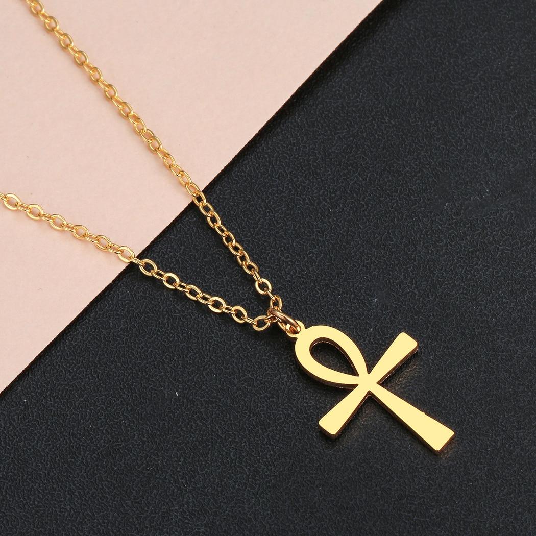 H4690119a2ba24b398f57a9e688142ebaW Colar Egipcio Egito Pingente de amuleto egípcio, colares com crucifixo, pingentes em aço inoxidável, símbolo da vida, colares com cruz, joias de presentes
