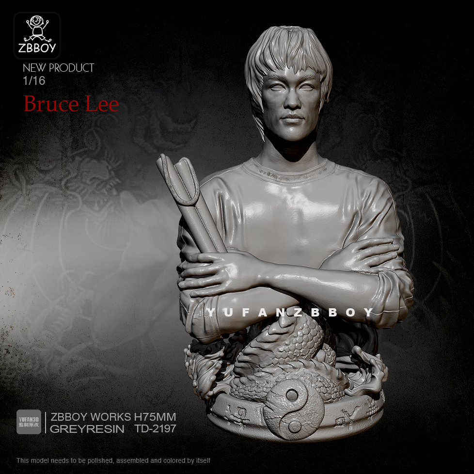 75mm Resin Bust Kits Bruce Lee Bust Of Dragon Nunchaku Self-assembled TD-2197