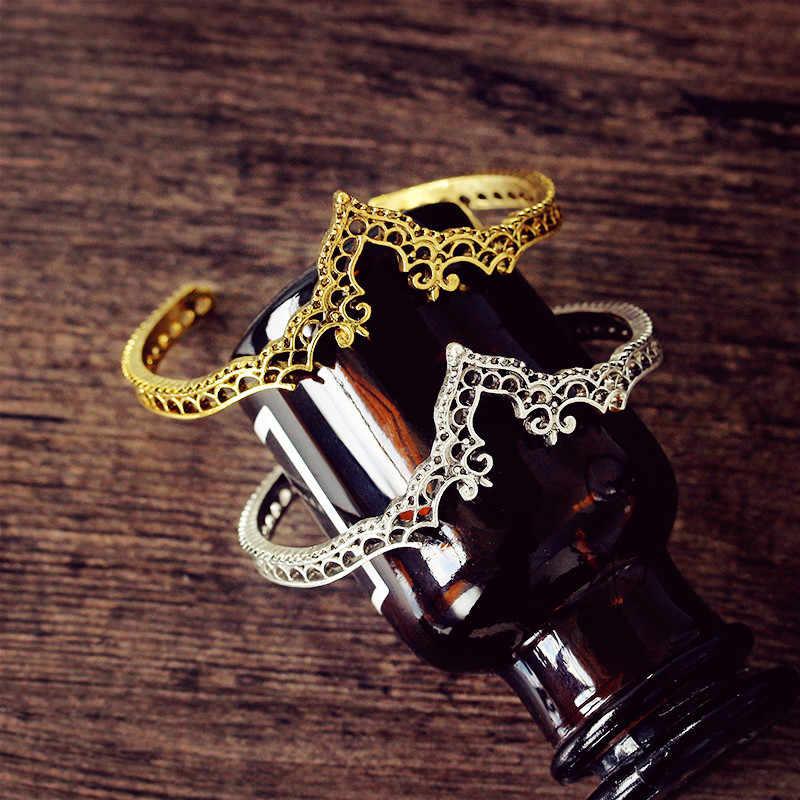 ZYZQ 高級ヴィンテージスタイリッシュ刻まオープンバングル周年記念プレゼント妻シルバー黄金色利用できる卸売ロット & バルク
