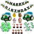1 Набор украшения для детей на ферму, строительный автомобиль на день рождения, баннер, грузовик, экскаватор, украшение торта, трактор Вечерн...