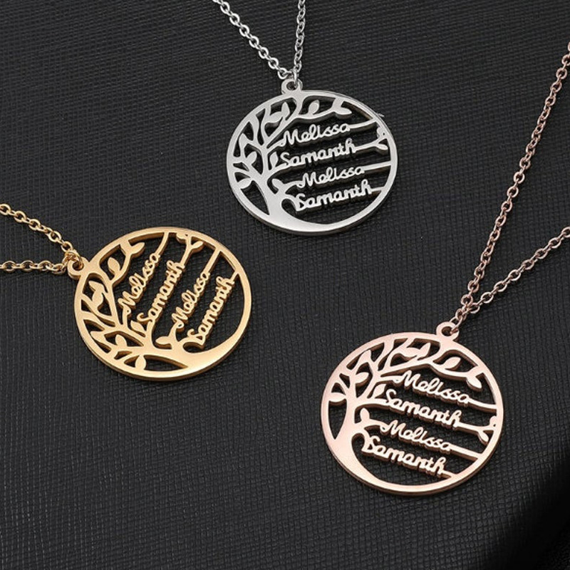 Personalized Statement Tree Of Life Name Necklace For Women Girls Stainless Steel Gold Chain Choker Necklace BFF Custom Jewelry