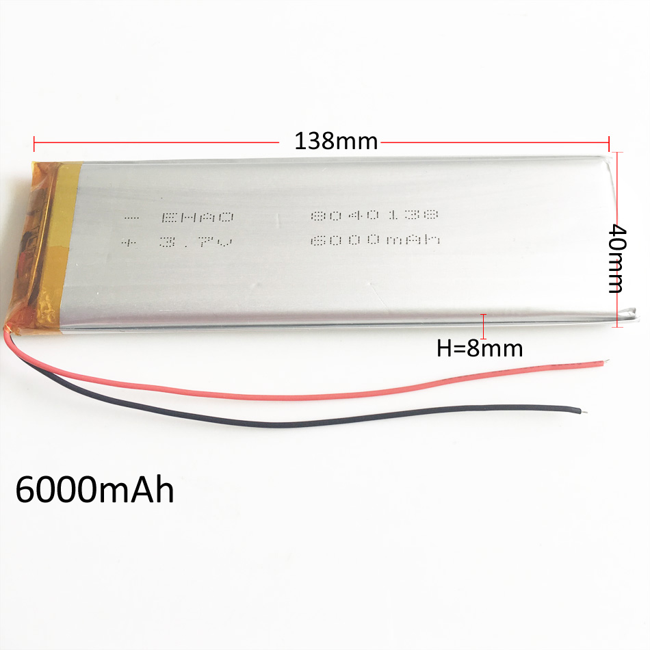 <font><b>3.7V</b></font> <font><b>6000mAh</b></font> 8040138 Lithium Polymer <font><b>LiPo</b></font> Rechargeable <font><b>Battery</b></font> Li cells For PAD GPS PSP DVD Power bank Tablet PC Naptop camera image