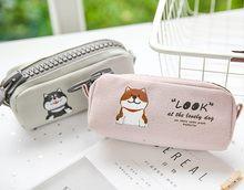 Grande zíper menina melhor coração shiba lápis caso papelaria saco de armazenamento escalar papelaria escolar suprimentos