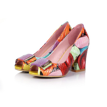 US4-11 Womens Peep Toe Patent Leather Mixed Colors Chunky High Heel Sandals Summer Buckle Decor Shoes Fashion OL Plus Size