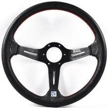 New ND 14inch/350mm Carbon Fiber look Genuine Leather Steering Wheel Drift Sport Steering Wheels