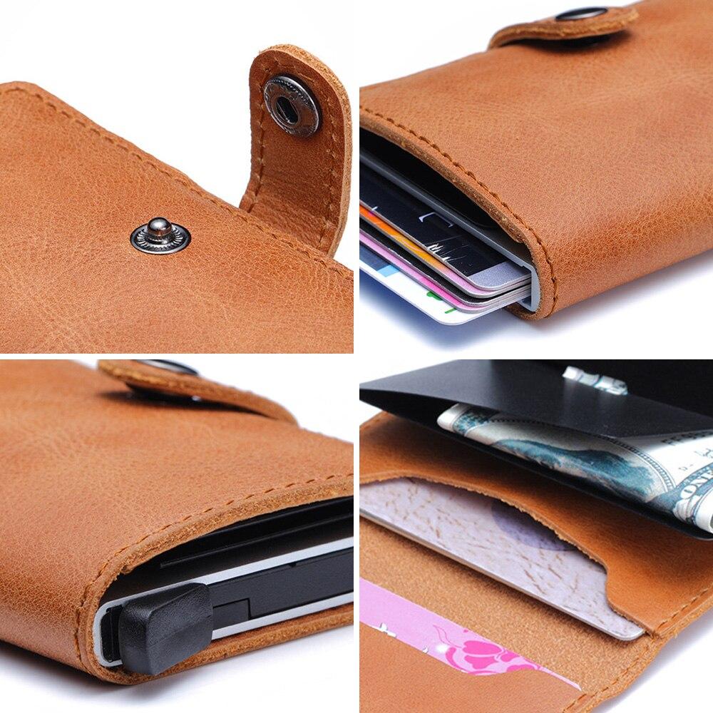 Image 3 - עור אמיתי גברים אשראי כרטיס בעל וו RFID חסימת ארנק מזהה כרטיס מחזיק בנק עסקי ארנקים ארנק לנשים כרטיסיםמחזיקי כרטיסים ותעודת זהות   -