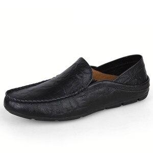 Image 2 - 큰 사이즈 36 47 남성 신발 패션 브랜드 남성 로퍼 봄 가을 moccasins 남성 정품 가죽 워킹 신발 남성 플랫 신발