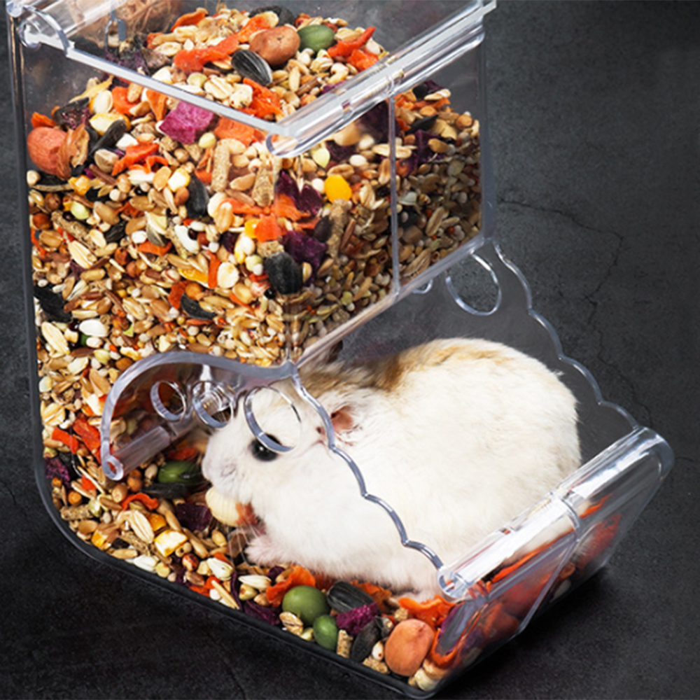 Hamster Rabbit Food Dispenser Clear Automatic Pet Feeder For Hamster Guinea Pigs Food Bowl Container