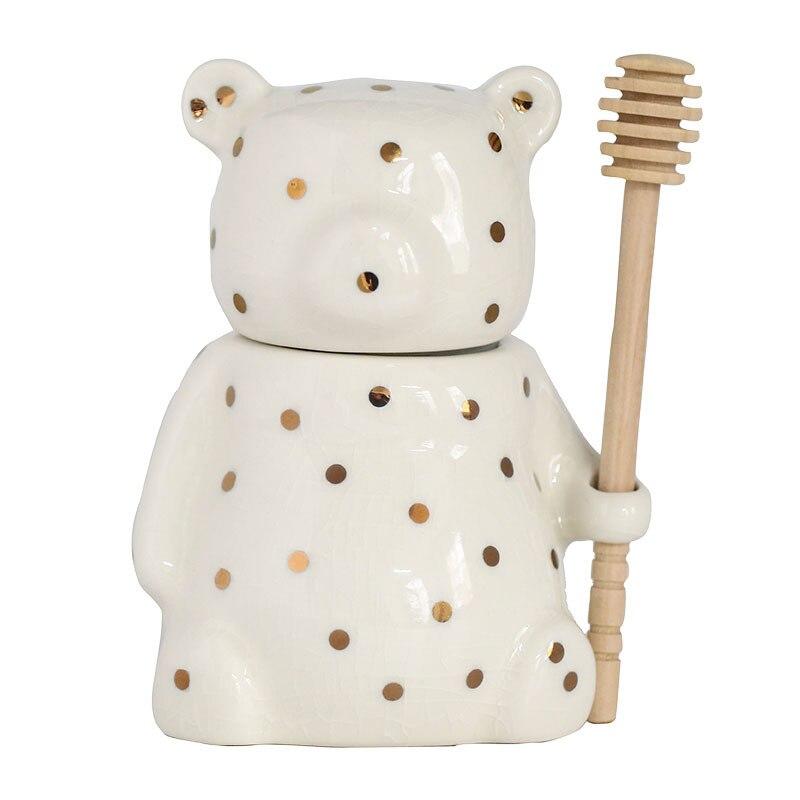 Beyaz bal kavanozu, seramik bal kavanozu, kepçe ve kapak, mutfak kullanımı için ev aksesuarı, bal sıkma dispenseri