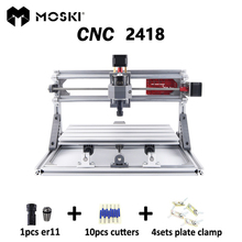 MOSKI, CNC 2418 met ER11, mini cnc laser graveermachine, Pcb Freesmachine, houtsnijwerk machine, cnc router, cnc2418, beste cadeaus