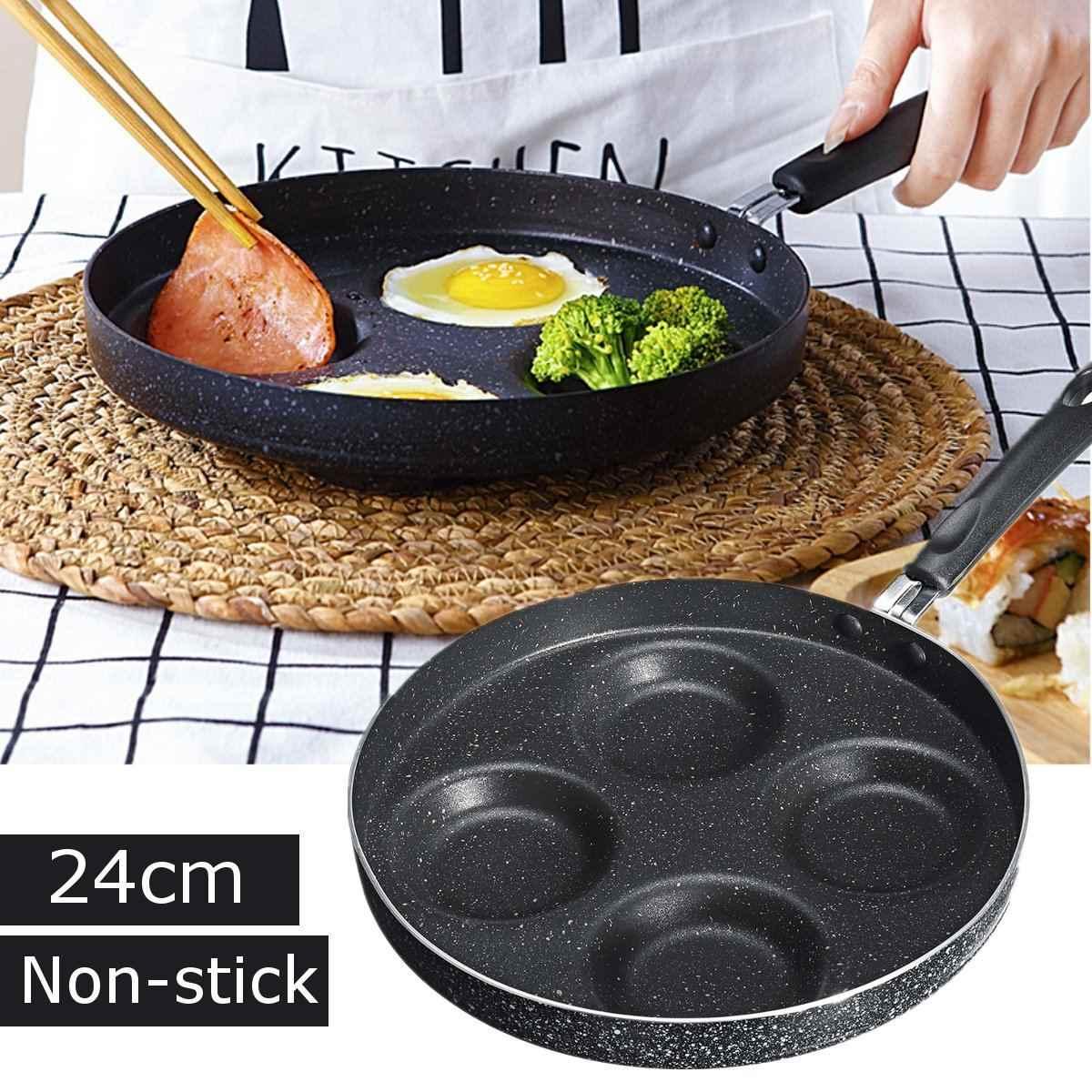 24cm ze stopu aluminium ze stopu aluminium patelnia nieprzywierająca kamień medyczny powłoka smażenia patelni Cooker jajka naleśnik Pot kuchnia gotowanie narzędzia