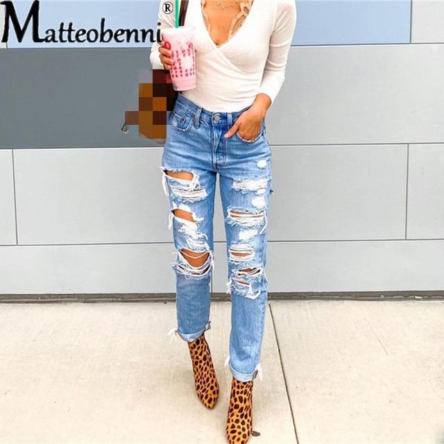 Pantalones largos de pitillo rasgados para mujer, Jeans lisos informales de cintura alta, ropa de calle, moda Vintage 3