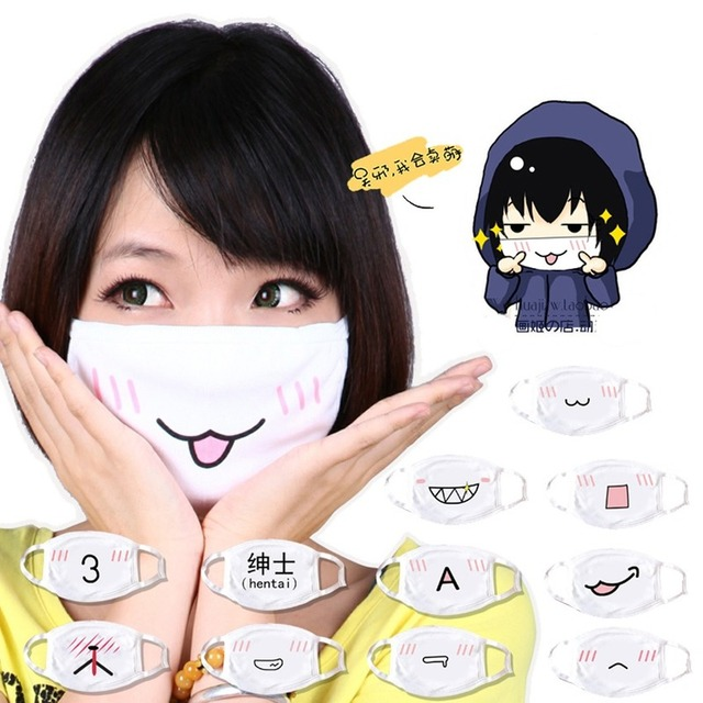 Wholesale 10pcs Japan Anime Face Mask Cosplay Mouth-muffle Kaomoji-kun Emoticon Kawaii Anti-Dust Cotton Mouth Masks Breathable 1