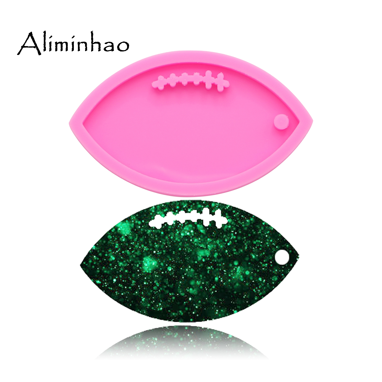 DY0090 Shiny Football Keychains Mold Clay DIY Jewelry Making Glitter Epoxy Silicone Resin Mold