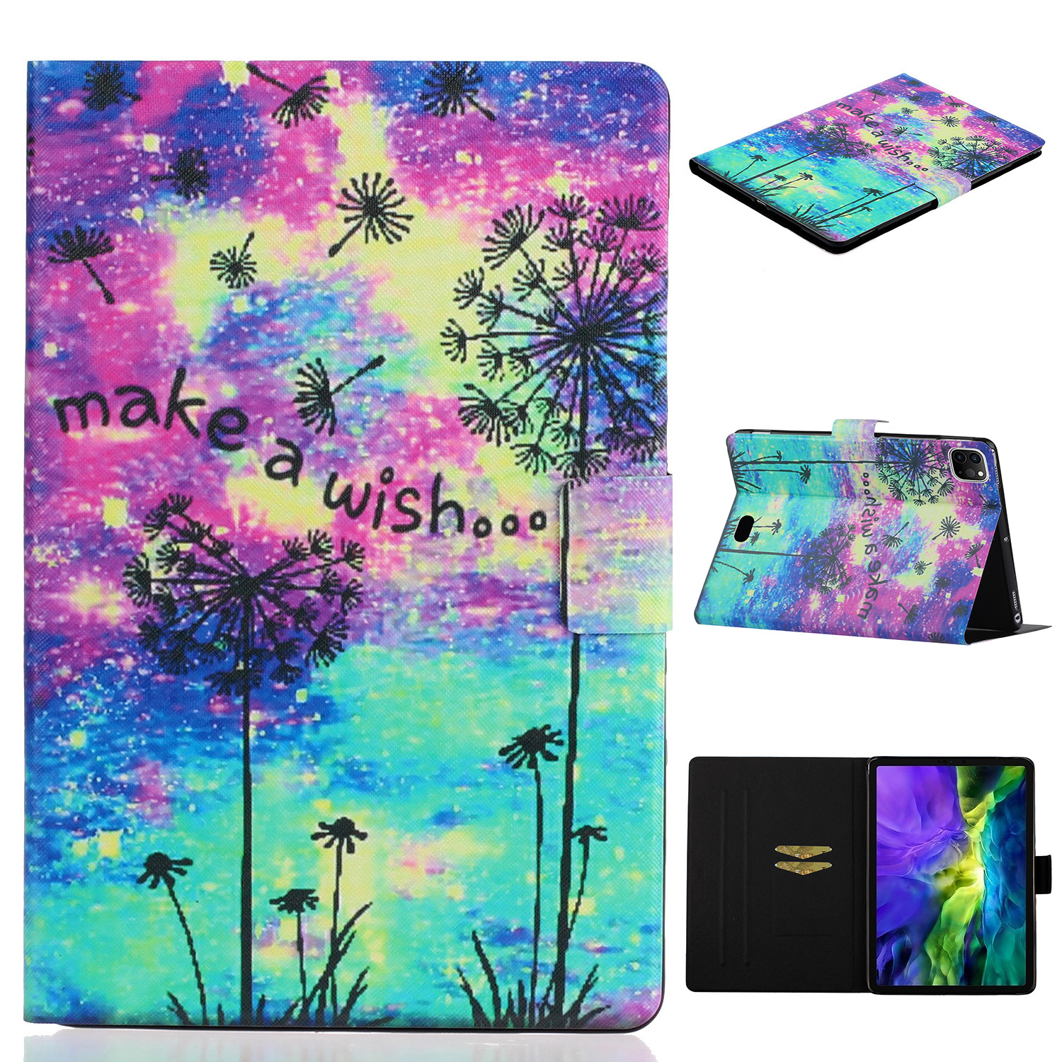 4 Green For iPad Pro 11 inch 2020 Case Cheap PU Leather Painted Smart Folio Case for iPad