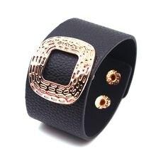 Totabc Новая женская обувь в стиле панк кожаный браслет золото