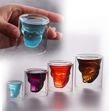 Glass Skull Cup Crystal Glasses With Lid Cappuccino Cup Coffe Cup Foldable Cup(China)