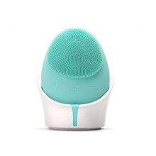 Электрическая силиконовая Очищающая щетка для лица, звуковой вибрационный массаж, беспроводное зарядное устройство, умный Ультра звуковой очиститель для лица