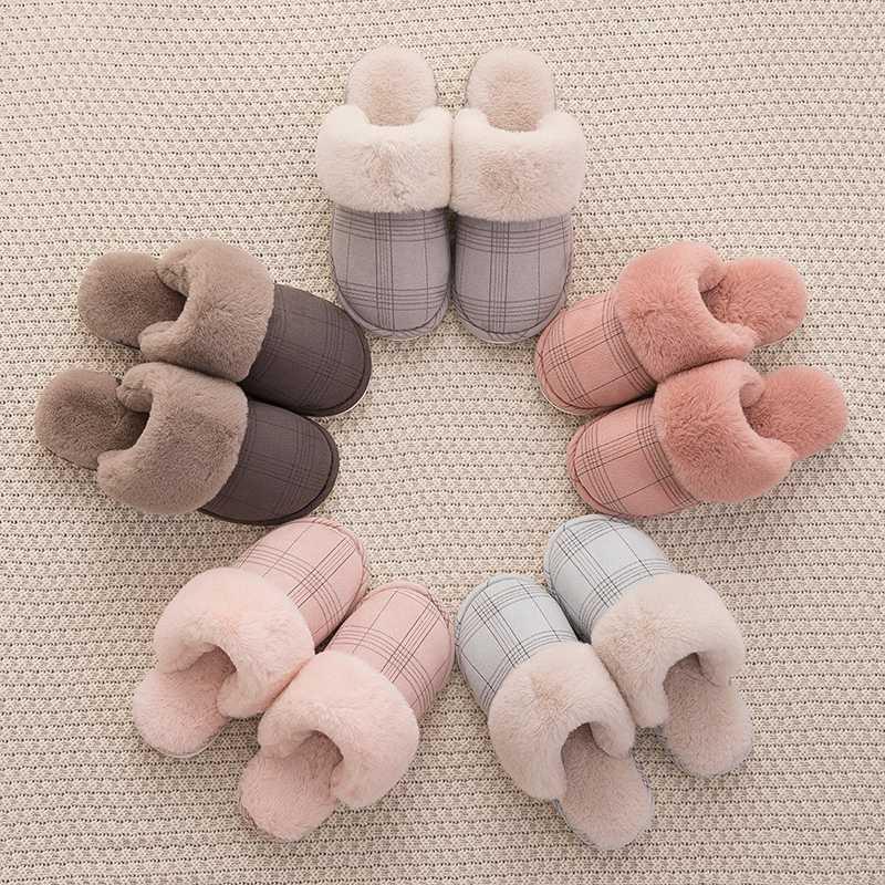 Women's slippers Fur Slippers Winter Warm Big Size 36-44 Plush Non Slip Home shoes Indoor  Couple Floor Shoes Bedroom
