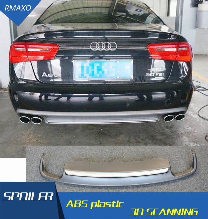For Audi A6 S6 Body kit spoiler 2012-2015 For Audi A6 RS6 yd ABS Rear lip rear spoiler front Bumper Diffuser Bumpers Protector image