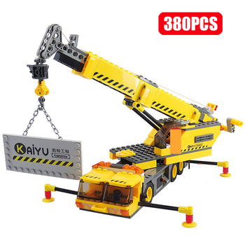 KAZI City Technic Engineering Crane Series Building Blocks Model Construction Vehicle Truck Sets Bricks Child Gifts Toys For Boy new sembo block engineering city construction container truck fit technic building blocks toys bricks toys for children kid gift
