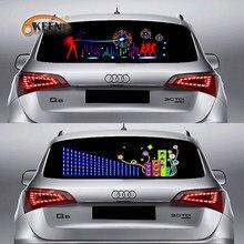 ECUALIZADOR LED activado por sonido para parabrisas de coche, luz de neón para EL coche, lámpara Flash de ritmo musical, pegatina con estilo con caja de Control