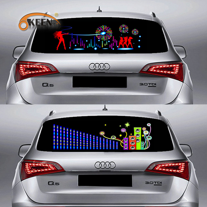 LED Car Windshield Sound Activated Equalizer Car Neon EL Light Music Rhythm Flash Lamp Sticker Styling With Control Box