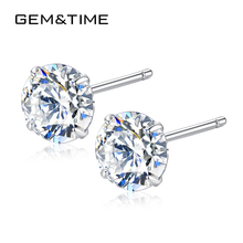 Gem&Time New Fashion 6mm Round Zircon Small Stud Earrings Sterling 925 Silver Earrings For Women Korean CZ Charm Jewelry Gift