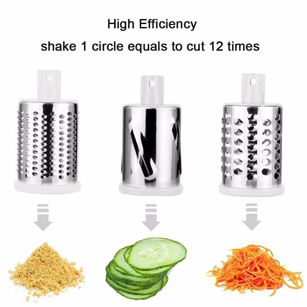 Vegetable Slicer Shredder Multifunctional Mandoline Carrot Potato peanut Garlic Spiralizer Grater with 3 Stainless Steel Blades in Food Processors from Home Appliances