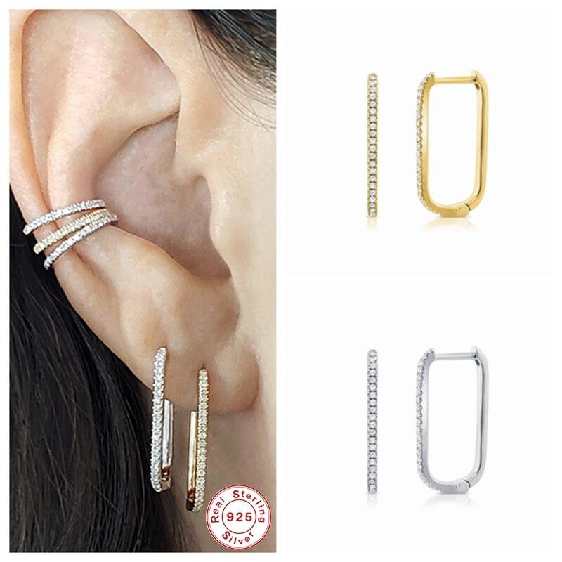 CANNER 100% orecchini a cerchio grande in argento Sterling 925 orecchini a cerchio con fibbia in osso per le donne Mujer Pendientes a forma di U