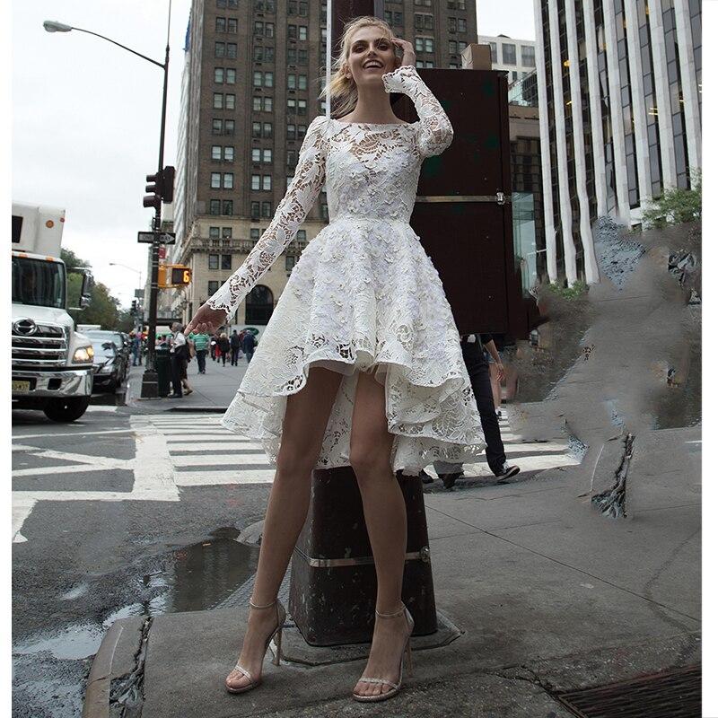 Verngo Lace Appliques Wedding Dress Boho Long Sleeves Bride Dresses Short Wedding Gowns Vestido De Novia