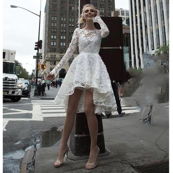 Verngo Lace Appliques Wedding Dress Boho Long Sleeves Bride Dresses Short Gowns Vestido De Novia