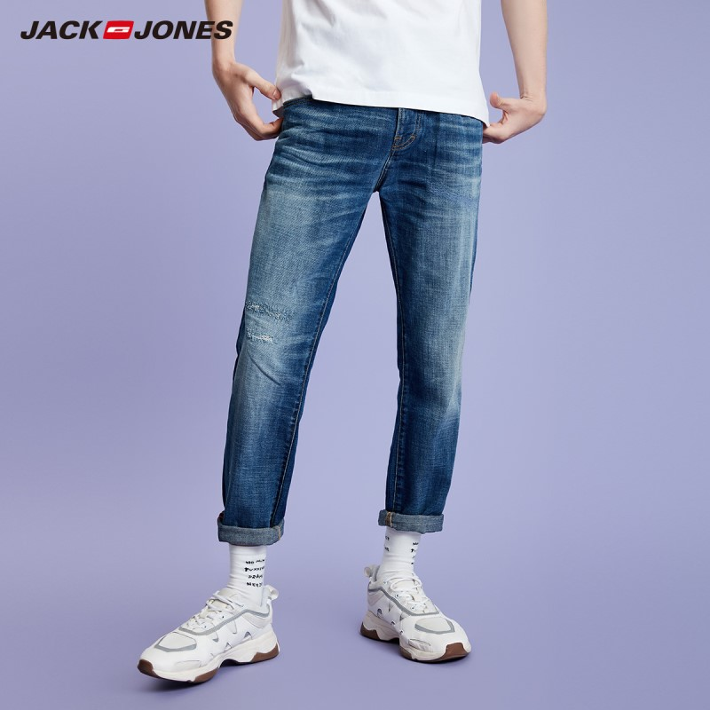 JackJones Men's Slim Fit Ripped Tight-leg Dark Color Crop Jeans| Basic Jeans 219132531