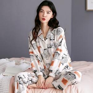 Image 5 - BZEL Hot البيع الخريف الشتاء ملابس خاصة القطن السيدات منامة مجموعة طويلة الأكمام المقالي داخلية جميلة ملابس النوم بيجامة M 4XL