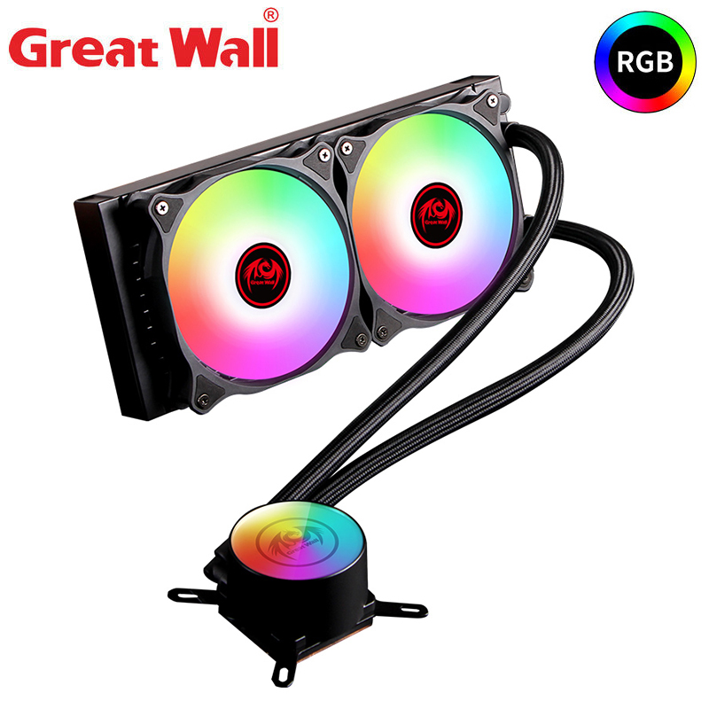 Great Wall RGB Water Cooling CPU Radiator PC 12V Dual Fan 120mm Water Cooler for PC 4PIN Computer Processor Heatsink  Aluminum