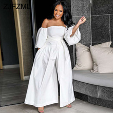 Puff Sleeve Wide Leg Off Shoulder Backless Jumpsuit