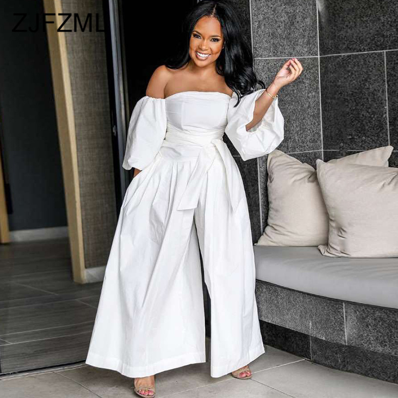 Plus Size Casual Romper Women Jumpsuit Sexy Slash Neck Puff Sleeve Wide Leg Bodysuit Summer Off Shoulder Backless Loose Overall