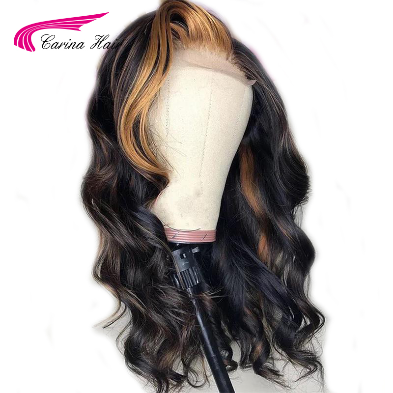 Carina Brazilian Loose Deep Lace Front Human Hair Wigs PrePlucked 13*3 Remy Ombre Color Glueless Wig With Highlight