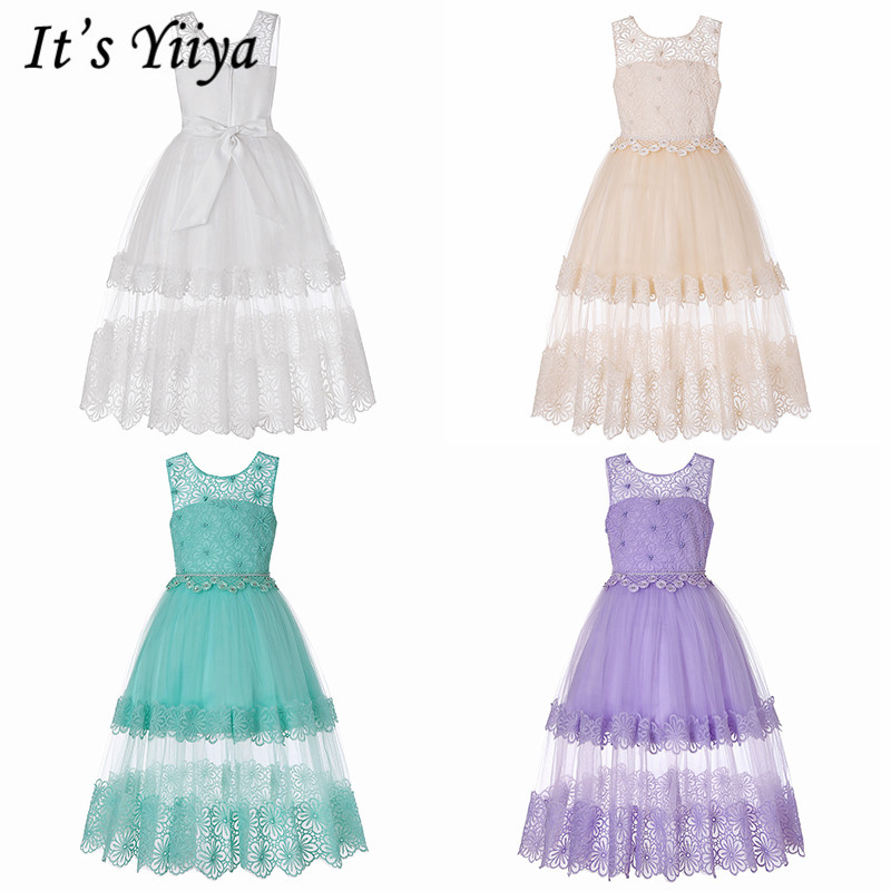 It's YiiYa   Flower     Girl     Dresses   6 Colors Sleeveless O-Neck Floor Length Pageant   Dress   Elegant Lace Tulle Kids Party   Dresses   5608
