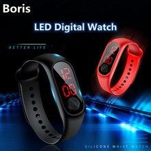 Children Women Man Sport Digital Watches Led Display Wrisrwatch For Kids Unisex Soft Silicone Band Waterproof Electronic Watch